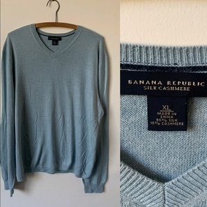 Banana Republic Silk Cashmere Blue Sweater